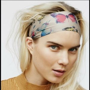 Free People Clarissa Printed Headband Stretch Wideband Boho Hair Accessories